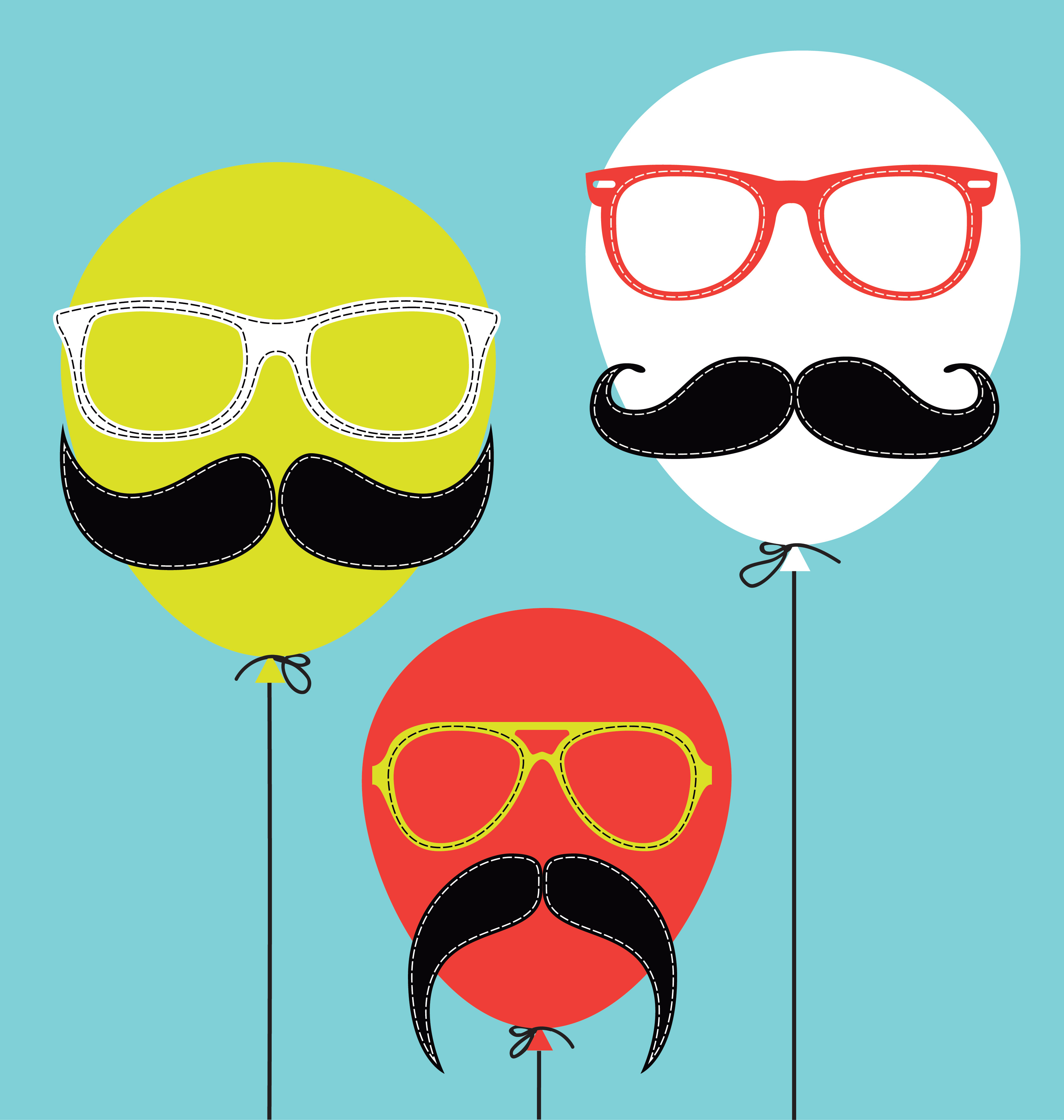 髭が印刷された素材をダウンロード