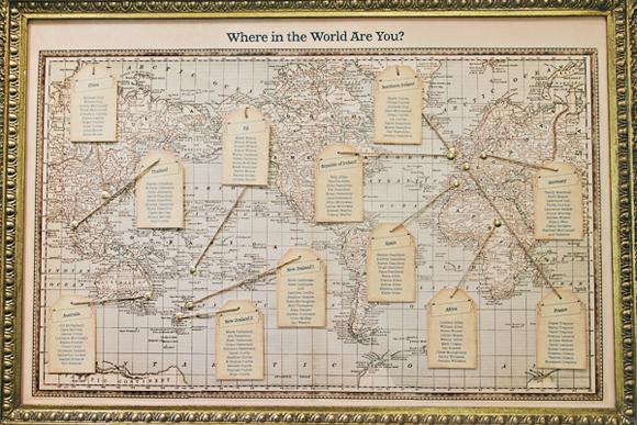 世界地図を使った席次表ボード