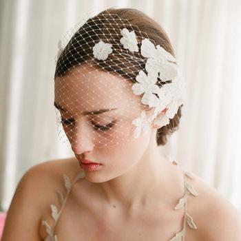 エレガントなベージュショートベールチュール模造真珠結婚式帽子とfascinators鳥かごのブライダル-ヘッドピース-パーティーハット.jpg_350x350