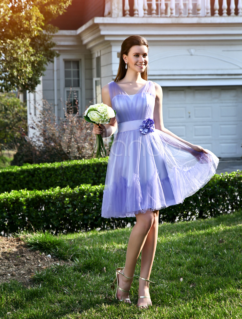 Charming-A-line-Lavender-Tulle-Flower-V-Neck-Knee-Length-Womens-Prom-Dress-282300-1298684