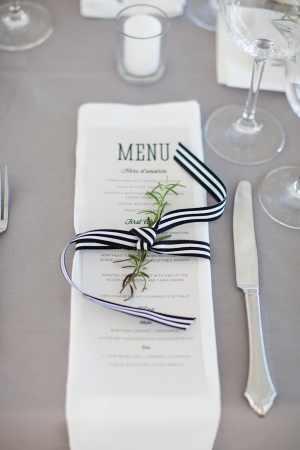 Reception-Menu-Tied-With-Black-and-White-Striped-Ribbon-300x450
