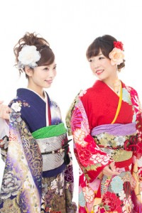 Beautiful asian kimono women on white background