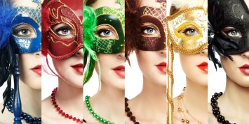 Woman in mysterious Venetian mask