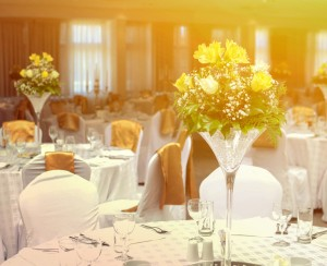 Flower arrangment on wedding tables