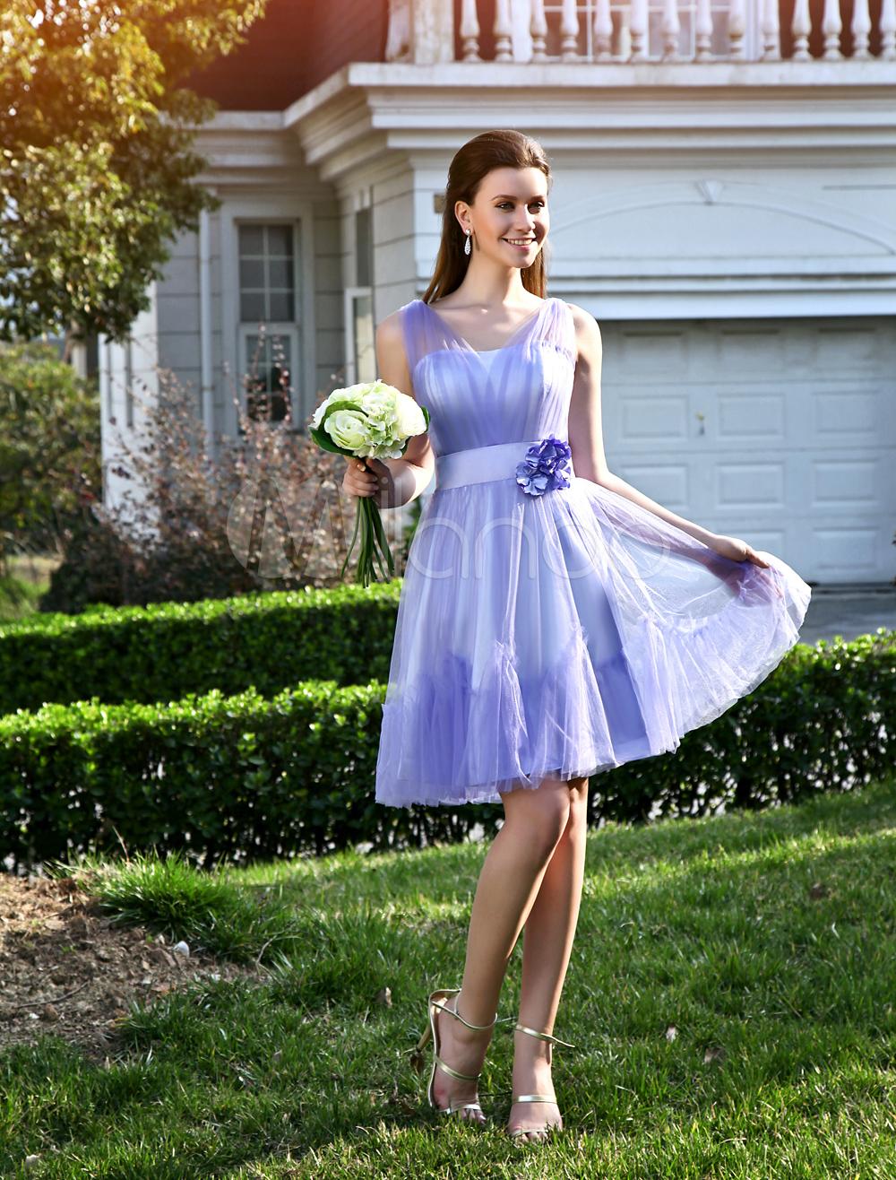 Charming-A-line-Lavender-Tulle-Flower-V-Neck-Knee-Length-Womens-Prom-Dress-282300-1298684