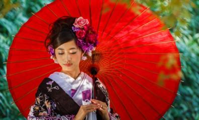 結婚式 前撮り 和装 傘