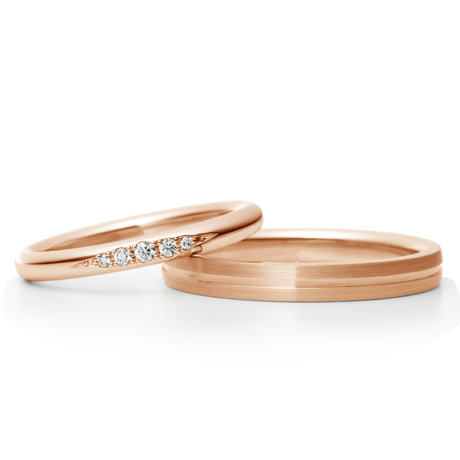 銀座ダイヤモンドシライシのピンクゴールド結婚指輪1