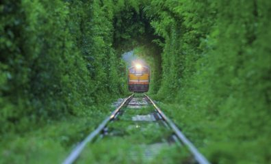 Train running in Natural tunnel.
