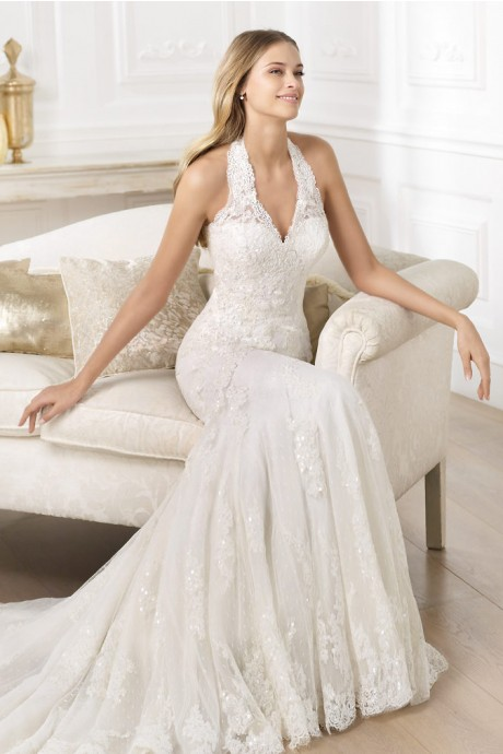 luxurious-elegant-halter-court-train-tulle-trumpet-mermaid-wedding-dress-hpr0051-c