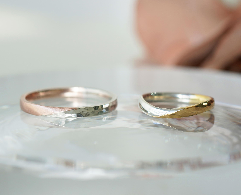 手作りコース 結婚指輪 Pt900 K18ピンクゴールド、イエローゴールド