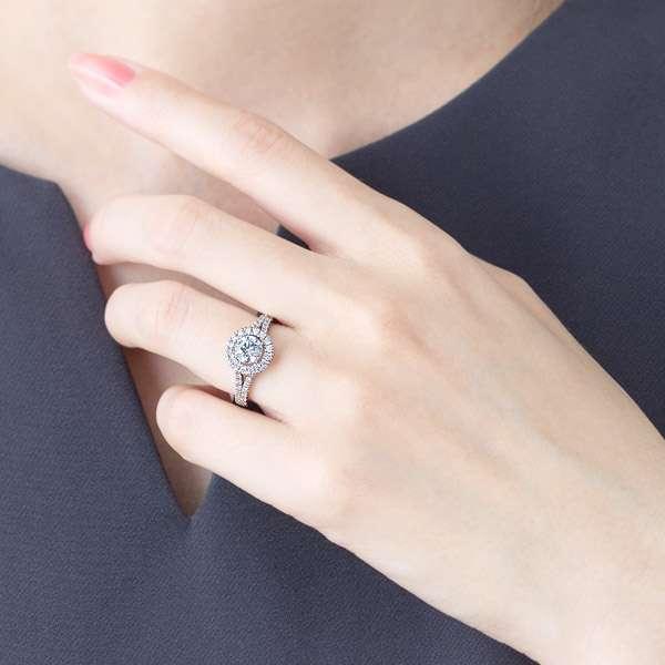 PT900 フローティングヘイロー レナ・ブランシュ ダイヤモンド リング 0.7ct指
