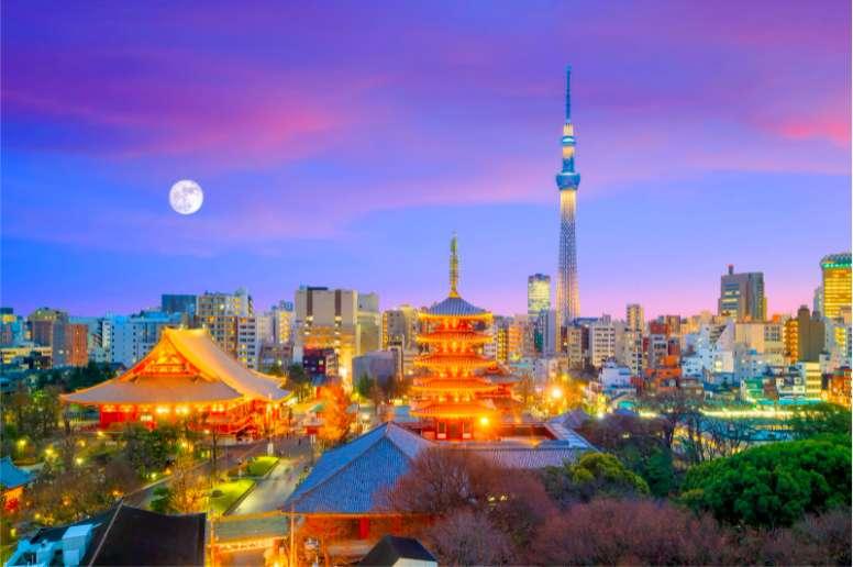 浅草寺とスカイツリーと夜景